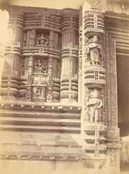 Close view of architrave and sculptured façade on left side of inner gateway, Jagannatha Temple, Puri